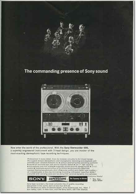 1962 ad for the  Sony 263D reel tape recorder in the Reel2ReelTexas.com vintage reel tape recorder recording collection