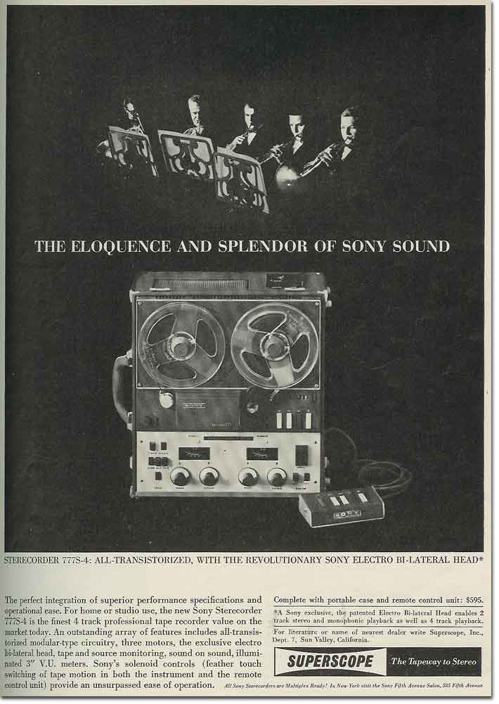 1962 ad for the  Sony 777 reel tape recorder in the Reel2ReelTexas.com vintage reel tape recorder recording collection
