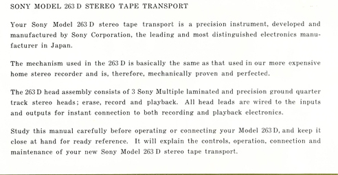 1963 manual for the Sony TC-263D reel to reel tape recorder in Reel2ReelTexas.com's images/R2R/vintage reel tape recorder collection