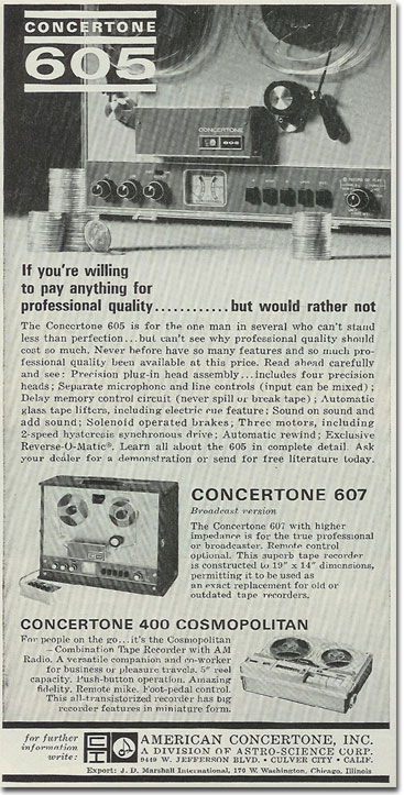 1964 ad for Concertone reel to reel tape recorders in the Reel2ReelTexas.com vintage recording collection