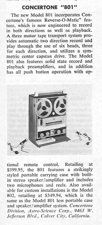 1964 review of the Concertone 801 reel to reel tape recorders in the Reel2ReelTexas.com vintage recording collection