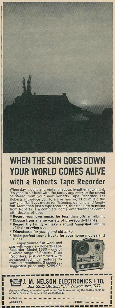 picture of 1964 Roberts 1630 tape recorder ad
