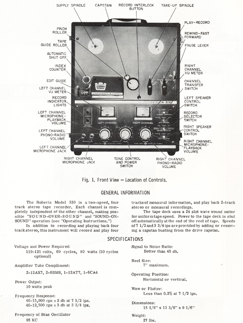 1964 manual for the Roberts 330 reel tape recorder in Reel2ReelTexas.com vintage tape recording collection