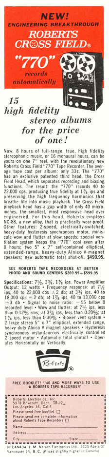 1964 ad for the Roberts 770 reel to reel tape recorder in Reel2ReelTexas.com's vintage recording collection