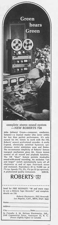 1964 ad Roberts tape recorder featuring John (Johnny) Green in Phantom Production's vintage tape recording collectionollection