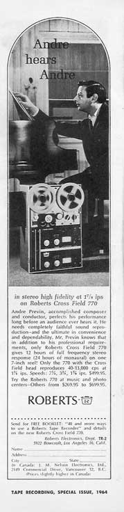 1964 ad Roberts tape recorder featuring Andre Previn in Phantom Production's vintage tape recording collection