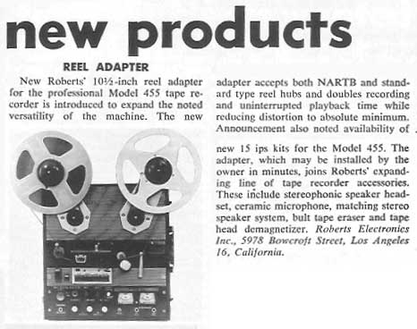 1964 ad for Roberts reel adapters in Phantom Production's vintage tape recording collection