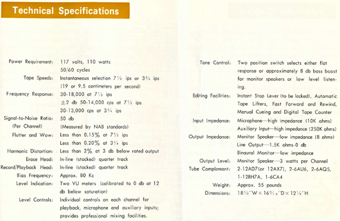 1964 Sony TC-500A manual page listing the tape recorder's specifications in Reel2ReelTexas.com's images/R2R/vintage reel tape recorder collection