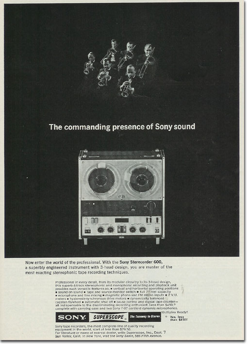 picture of a 1964 Sony 600 recorder ad