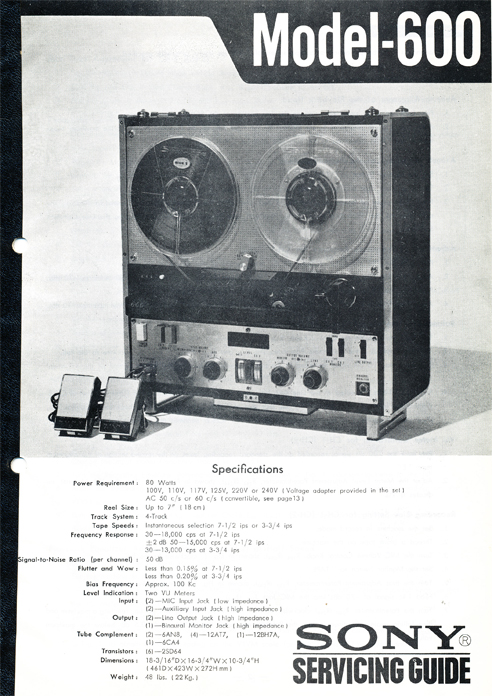 1964 Sony 600 reel tape recorder service manual page in Reel2ReelTexas.com's images/R2R/vintage reel tape recorder collection