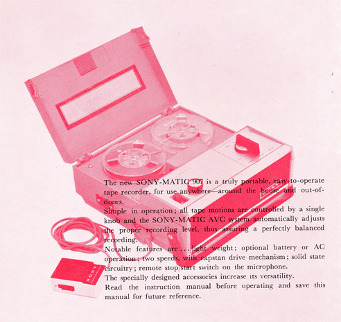 1964 Sony TC-907 portable reel tape recorder manual in Reel2ReelTexas.com's images/R2R/vintage reel tape recorder collection