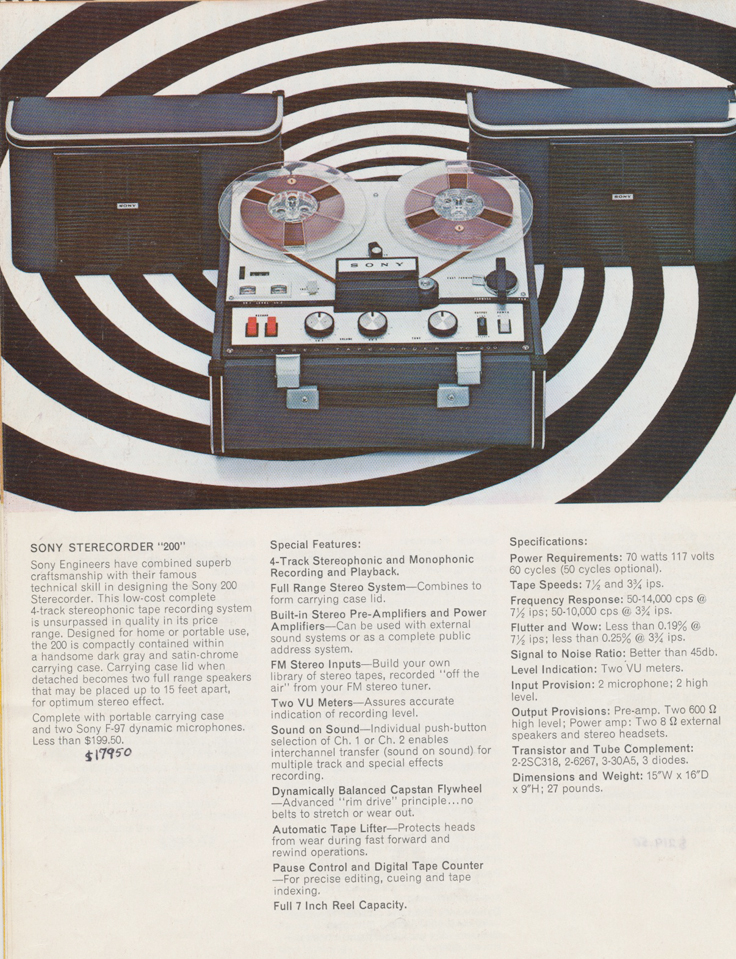 Sony 200 in the 1964 Sony Tape Recorder Catalog in Reel2ReelTexas.com's images/R2R/vintage reel tape recorder collection