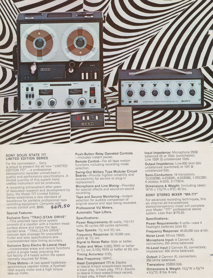 Sony 777 in 1964 Sony Tape Recorder Catalog in Reel2ReelTexas.com's images/R2R/vintage reel tape recorder collection