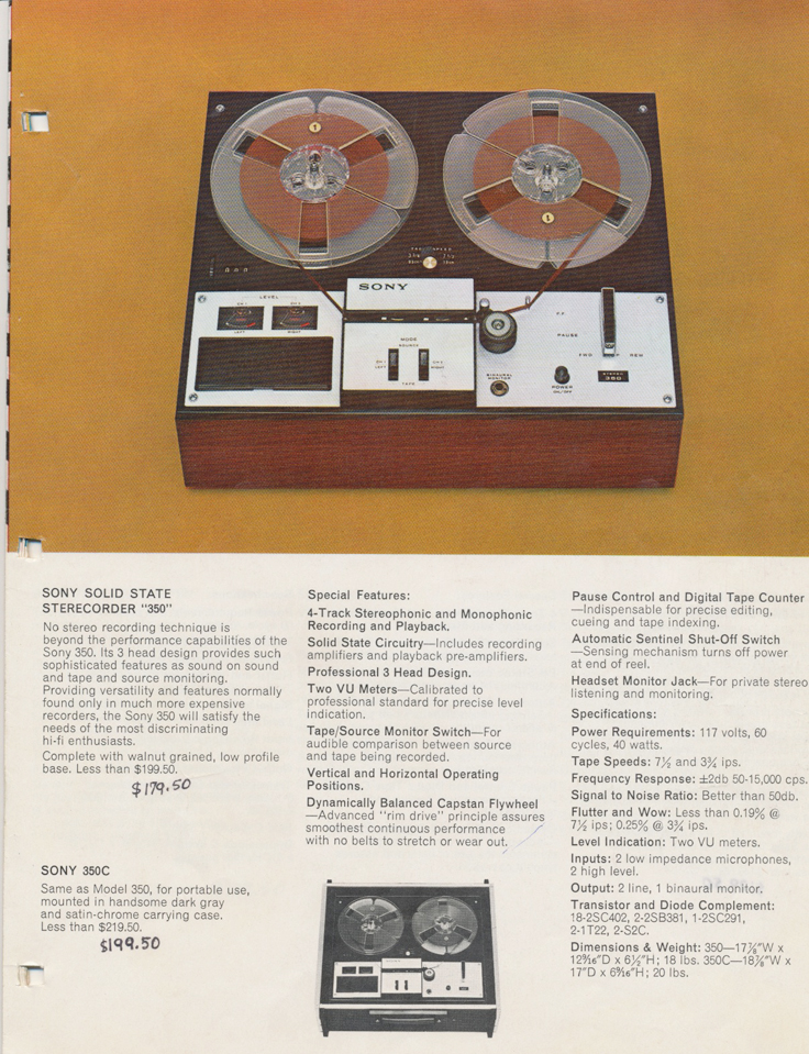 Sony 350 in the 1964 Sony Tape Recorder Catalog in Reel2ReelTexas.com's images/R2R/vintage reel tape recorder collection