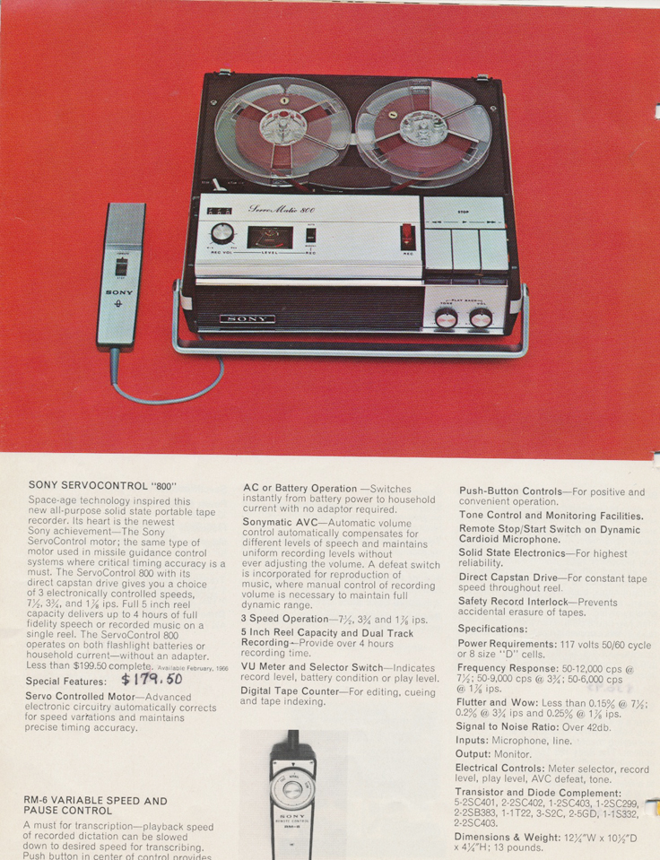 1964 ad for the  Sony TC-800B reel tape recorder in the Reel2ReelTexas.com vintage reel tape recorder recording collection