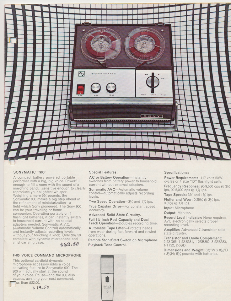 Sony 900 in the 1964 Sony Tape Recorder Catalog in Reel2ReelTexas.com's images/R2R/vintage reel tape recorder collection
