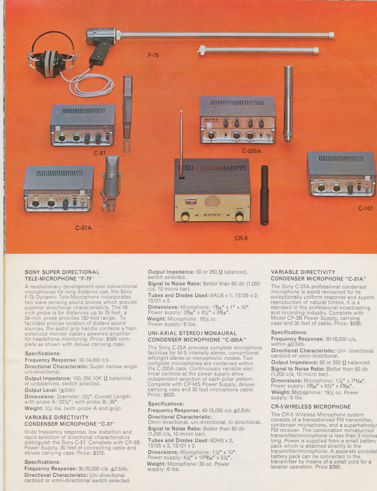 Microphones in the 1964 Sony Tape Recorder Catalog in Reel2ReelTexas.com's images/R2R/vintage reel tape recorder collection
