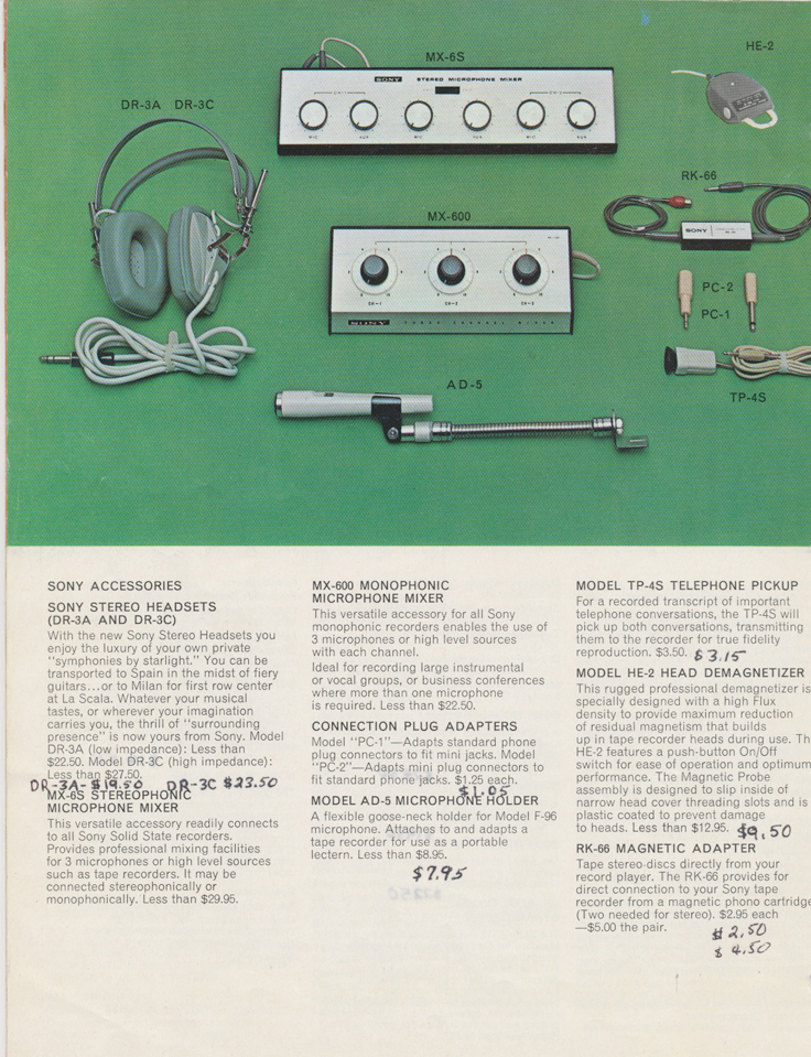 Accessories in the 1964 Sony Tape Recorder Catalog in Reel2ReelTexas.com's images/R2R/vintage reel tape recorder collection