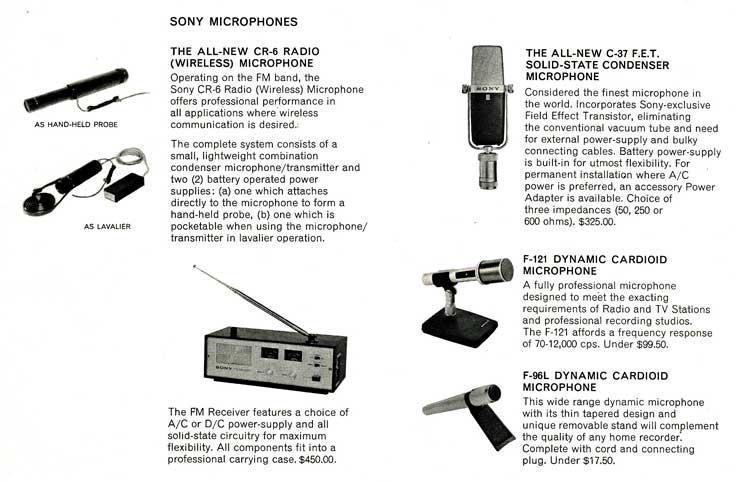 1964 Sony microphone listing in Reel2ReelTexas.com's images/R2R/vintage recording collection