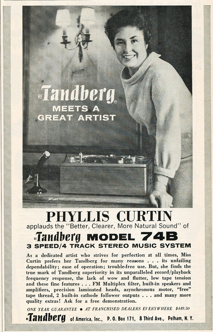 1964 ad for Tandberg reel to reel tape recorders featuring Phyllis Curtain in the Reel2ReelTexas.com vintage recording collection