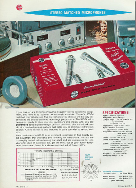 1964 ad for Turner microphones showing a Sony 777 reel to reel tape recorder in the Reel2ReelTexas.com vintage recording collection
