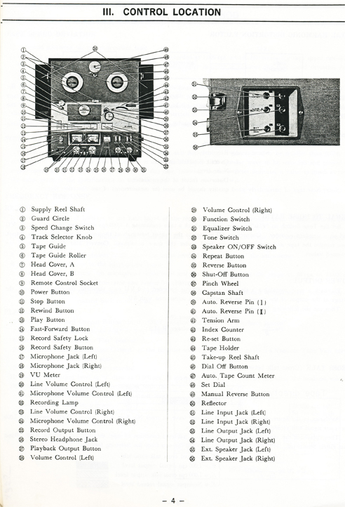1965 Akai 355X service manual controls in Reel2ReelTexas.com vintage reel to reel tape recorder collection
