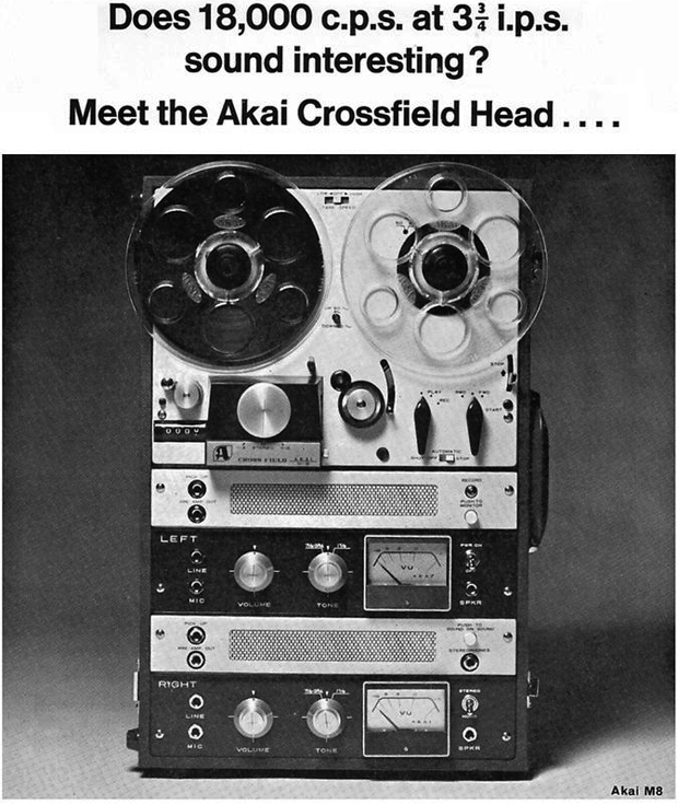 1965 Akai M-8 tape recorder ad in Phantom Productions vintage reel tape recorder collection