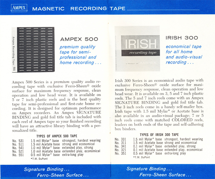 Ampex - Irish magnetic tape ad in the Reel2ReelTexas.com vintage recording museum