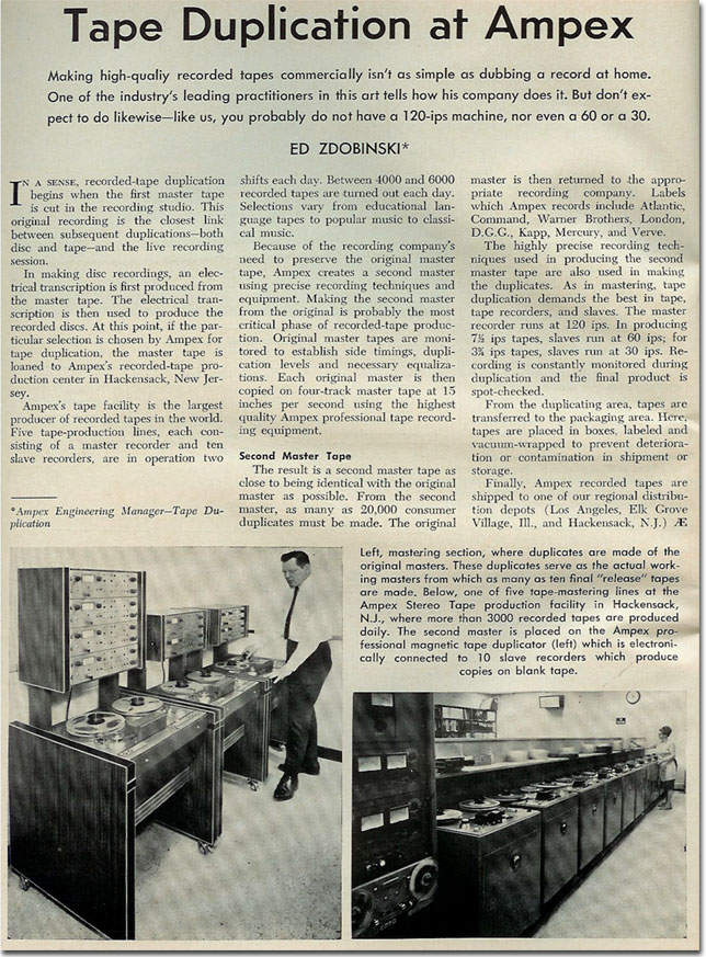1965 article about  Ampex's recording tape duplication  in the Reel2ReelTexas.com vintage recording collection