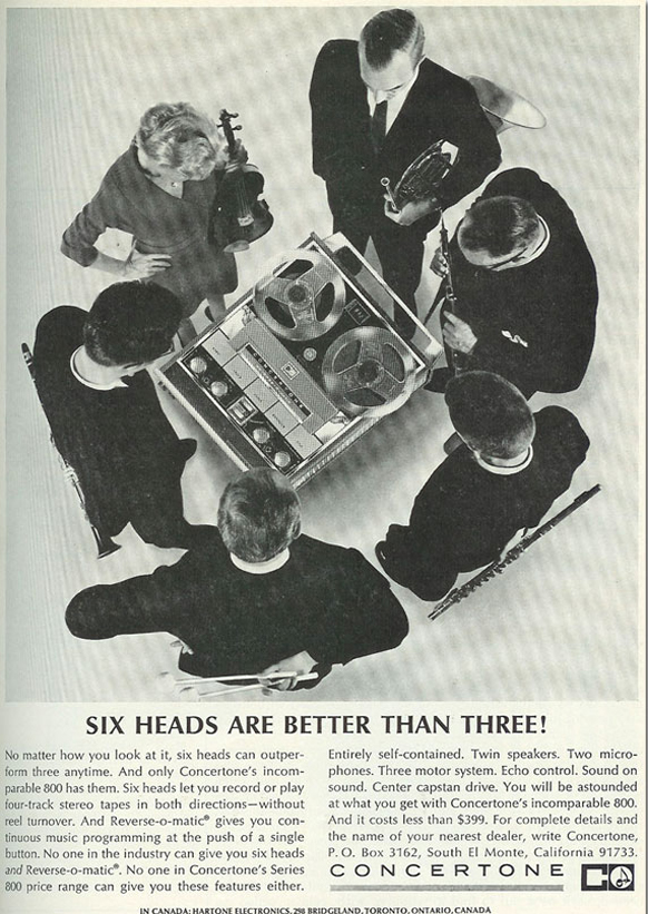 1965 ad for the Concertone 800 reel to reel tape recorder in the Reel2ReelTexas.com vintage recording collection