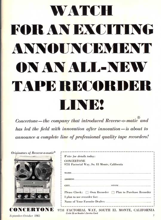 1965 ad for Concertone reel to reel tape recorders in the Reel2ReelTexas.com vintage recording collection
