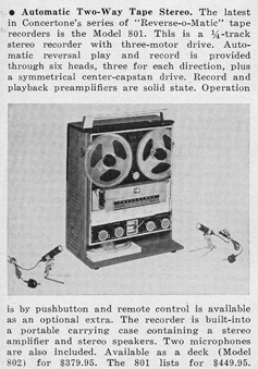 1965 review of the Concertone 801 reel to reel tape recorders in the Reel2ReelTexas.com vintage recording collection
