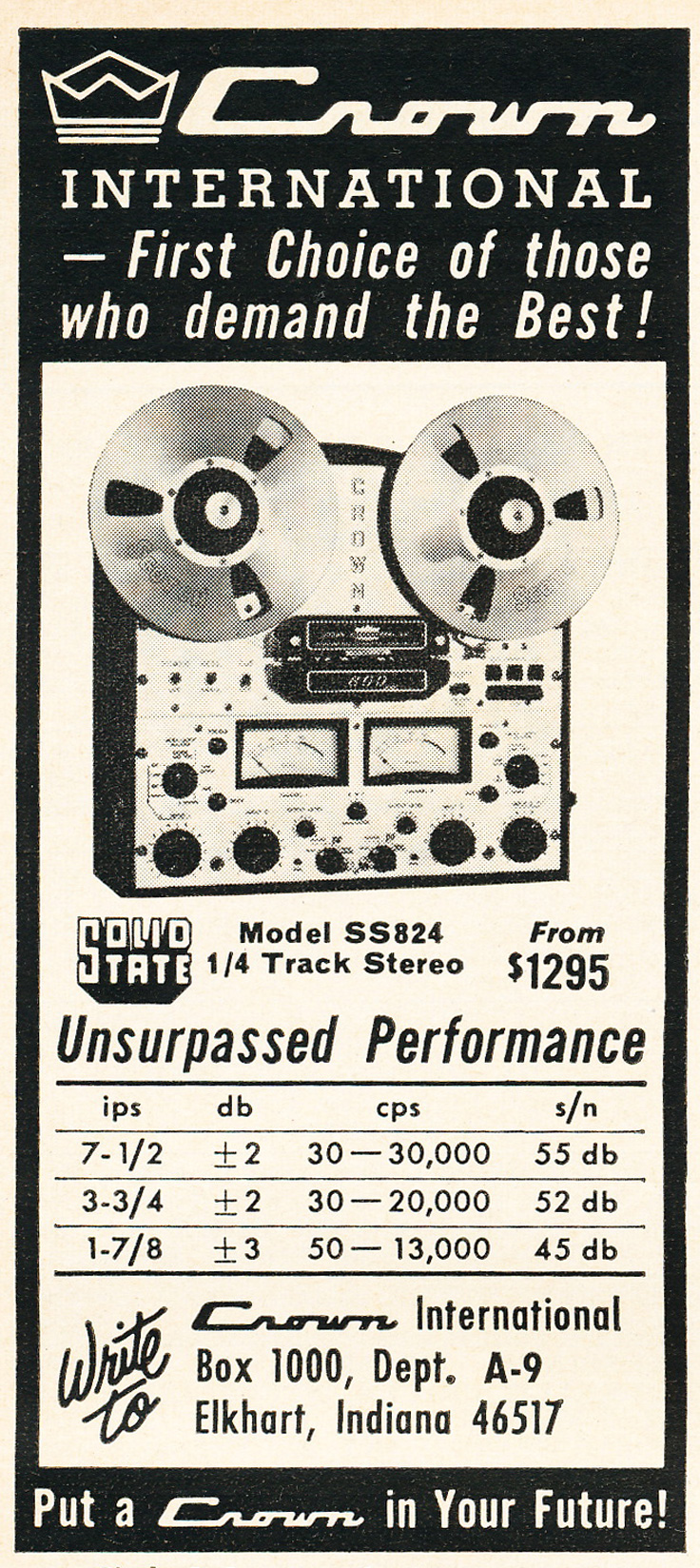 1965 Crown reel to reel tape recorder ad in the Reel2ReelTexas.com vintage recording collection