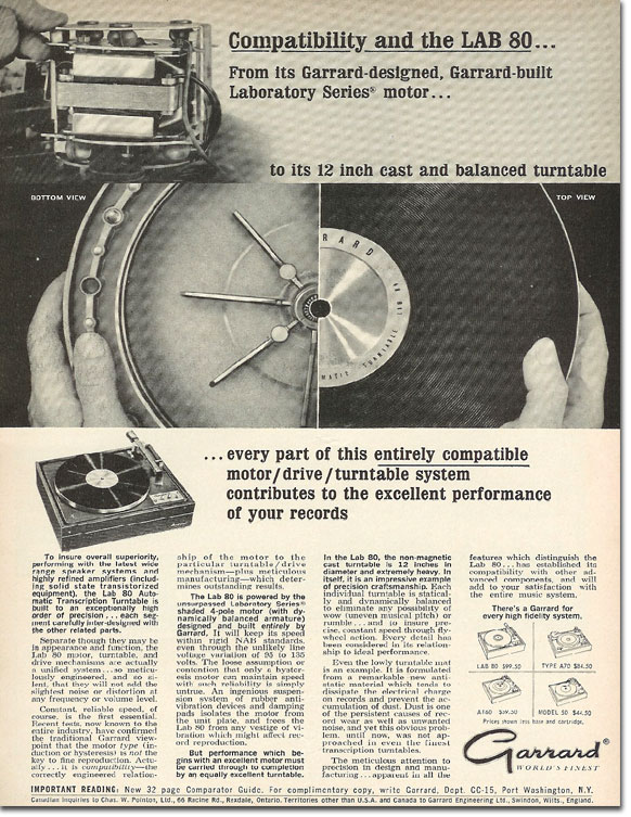 1965 ad for the Garrard Lab 80 Transcription turntable in the MOMSR /Reel2ReelTexas /Theophilus vintage reel tape recorder collection