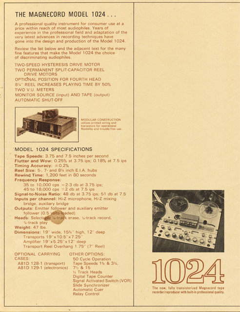 1965 ad for the Magnecord reel to reel tape recorder in the Reel2ReelTexas.com MOMSR vintage recording collection