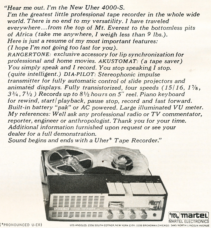 Uher reel tape recorder AD in the Reel2ReelTexas.com vintage reel tape recorder recording collection