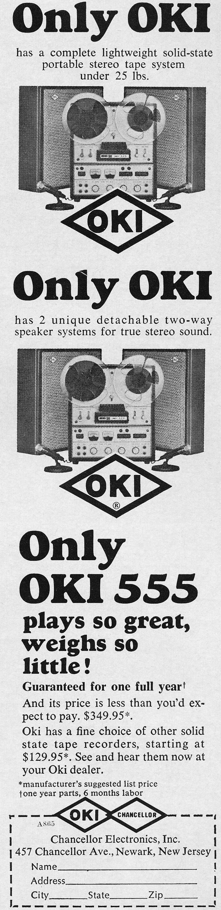 Oki reel to reel tape recorder ad in the Reel2ReelTexas.com / Museum of Magnetic Sound Recording museum vintage recording collection