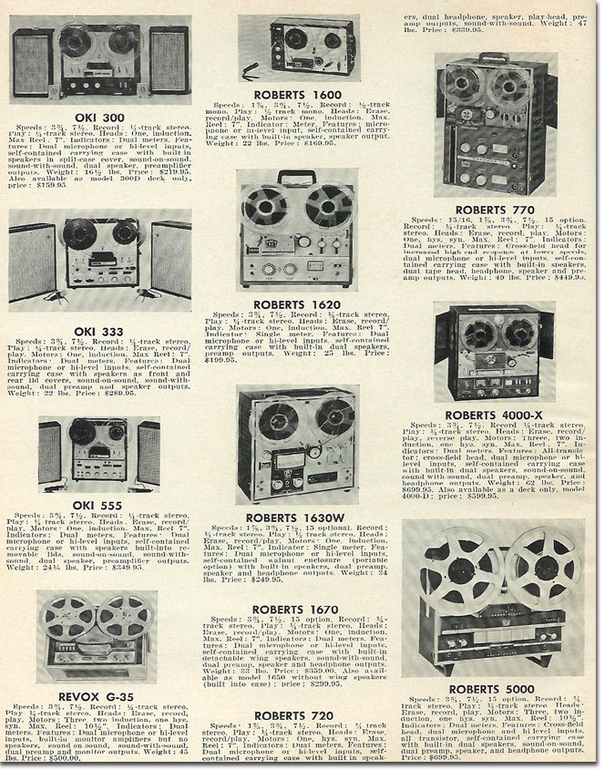In the Reel2ReelTexas.com's vintage recording collection, this is a 1965 list of reel to reel tape recorders