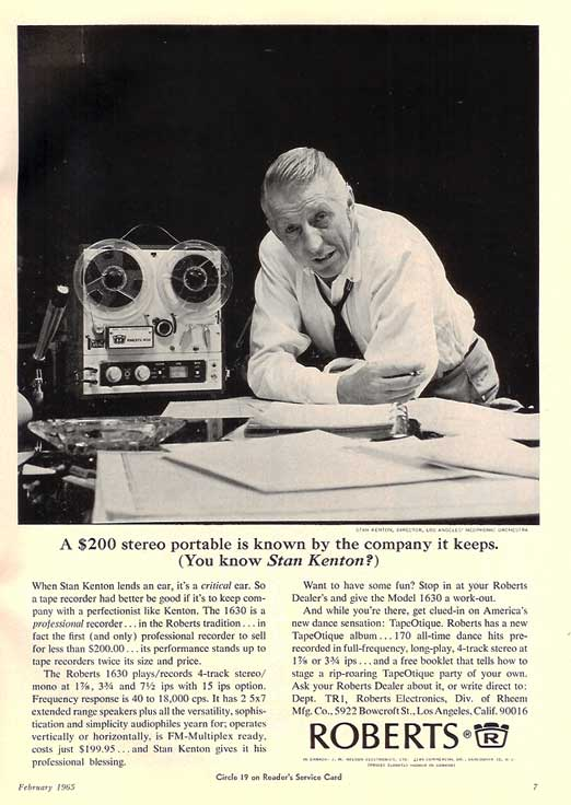 1965 ad for the Roberts 1630 reel to reel tape recorder featuring Stan Kenton in the Reel2ReelTexas.com vintage recording collection