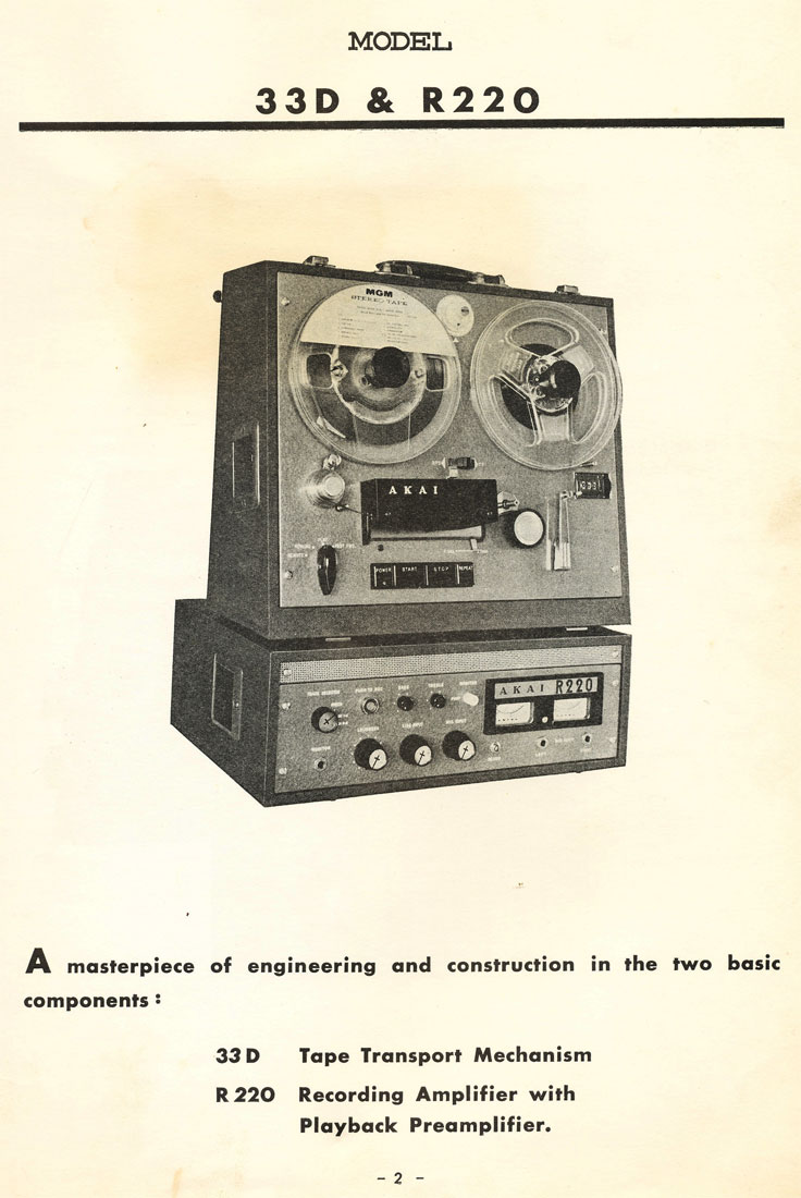 1965 Manual cover of the Akai 33D reel tape recorder deck and its companion 220R amplifier in the Reel2ReelTexas.com vintage reel tape recorder recording collection