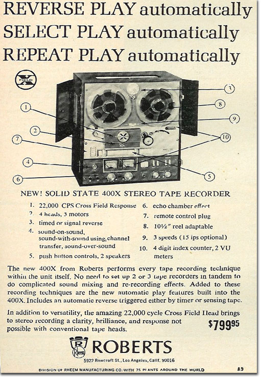 In the Reel2ReelTexas.com's vintage recording collection, this is a 1965 Roberts 400X tape recorder ad