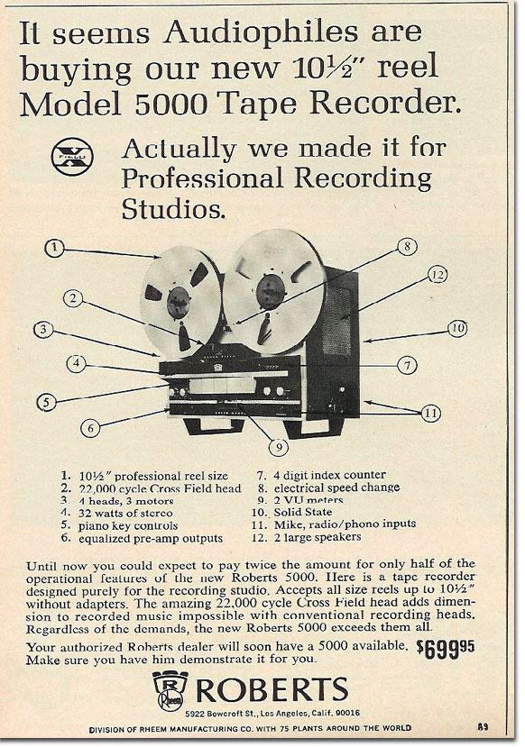 In the Reel2ReelTexas.com's vintage recording collection, this is a 1965 Roberts 5000 tape recorder ad