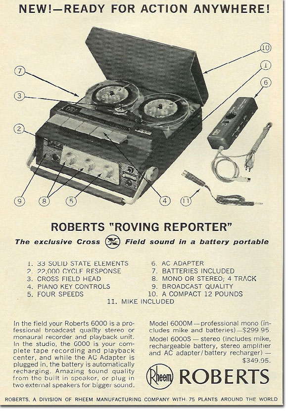 1965 Roberts 6000 tape recorder ad in the Reel2ReelTexas.com's vintage recording collection