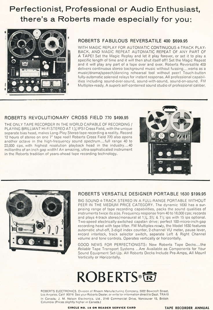 1965 ad for the 400, 770 and 1630  reel to reel tape recorders available from Roberts in the Reel2ReelTexas.com's vintage recording collection