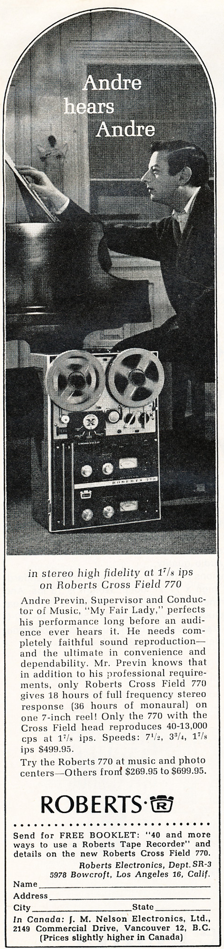 In the Reel2ReelTexas.com's vintage recording collection, this is a Roberts 770X tape recorder ad featuring Adrea Previn