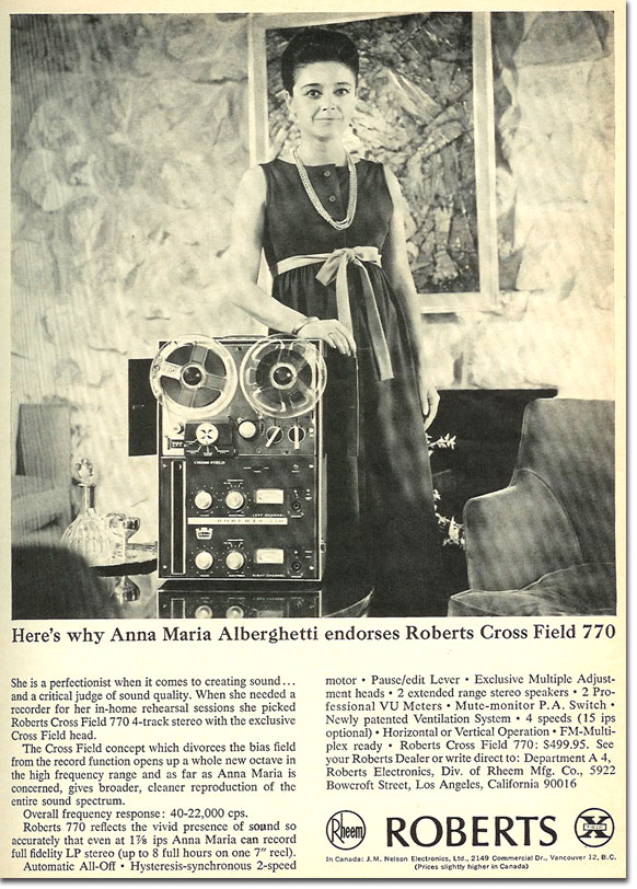 In the Reel2ReelTexas.com's vintage recording collection, this is a Roberts 770X tape recorder ad