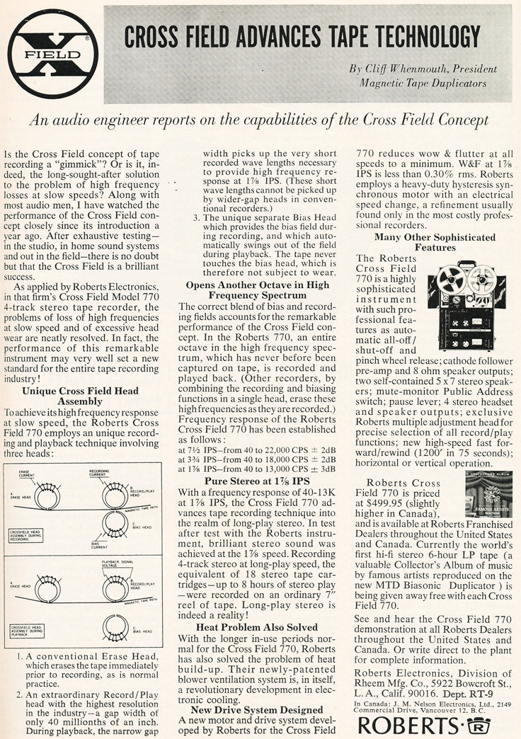 1965 ad for Roberts reel to reel tape recorders discussing the virtues of the Cross Field heads in Reel2ReelTexas.com's vintage recording collection