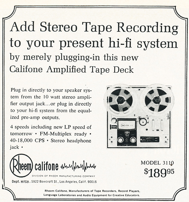 1965 Roberts 3110 tape recorder ad in the Reel2ReelTexas.com's vintage recording collection