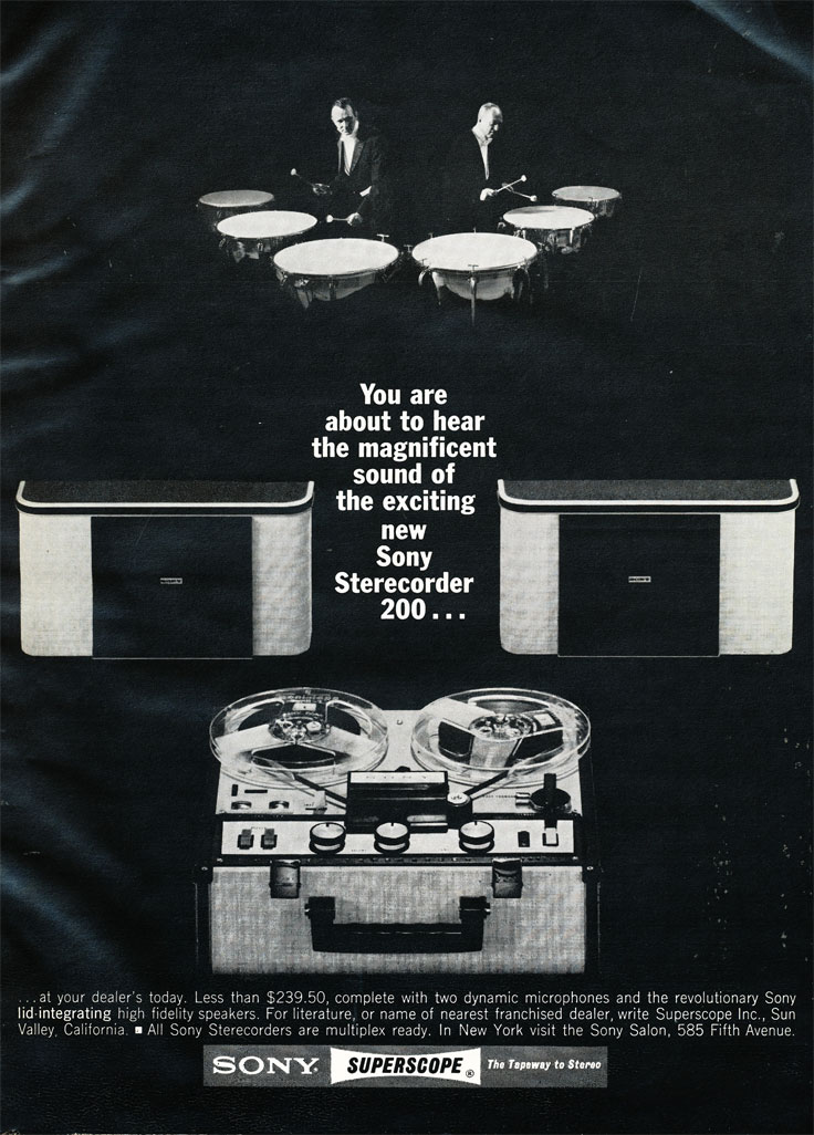 1965 ad for the Sony TC-200 reel to reel tape recorder in the Reel2ReelTexas.com's images/R2R/vintage recording collection