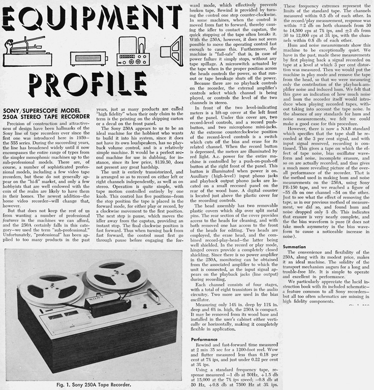 1965 review of the Sony 250A reel to reel tape deck in Reel2ReelTexas.com's images/R2R/vintage recording collection